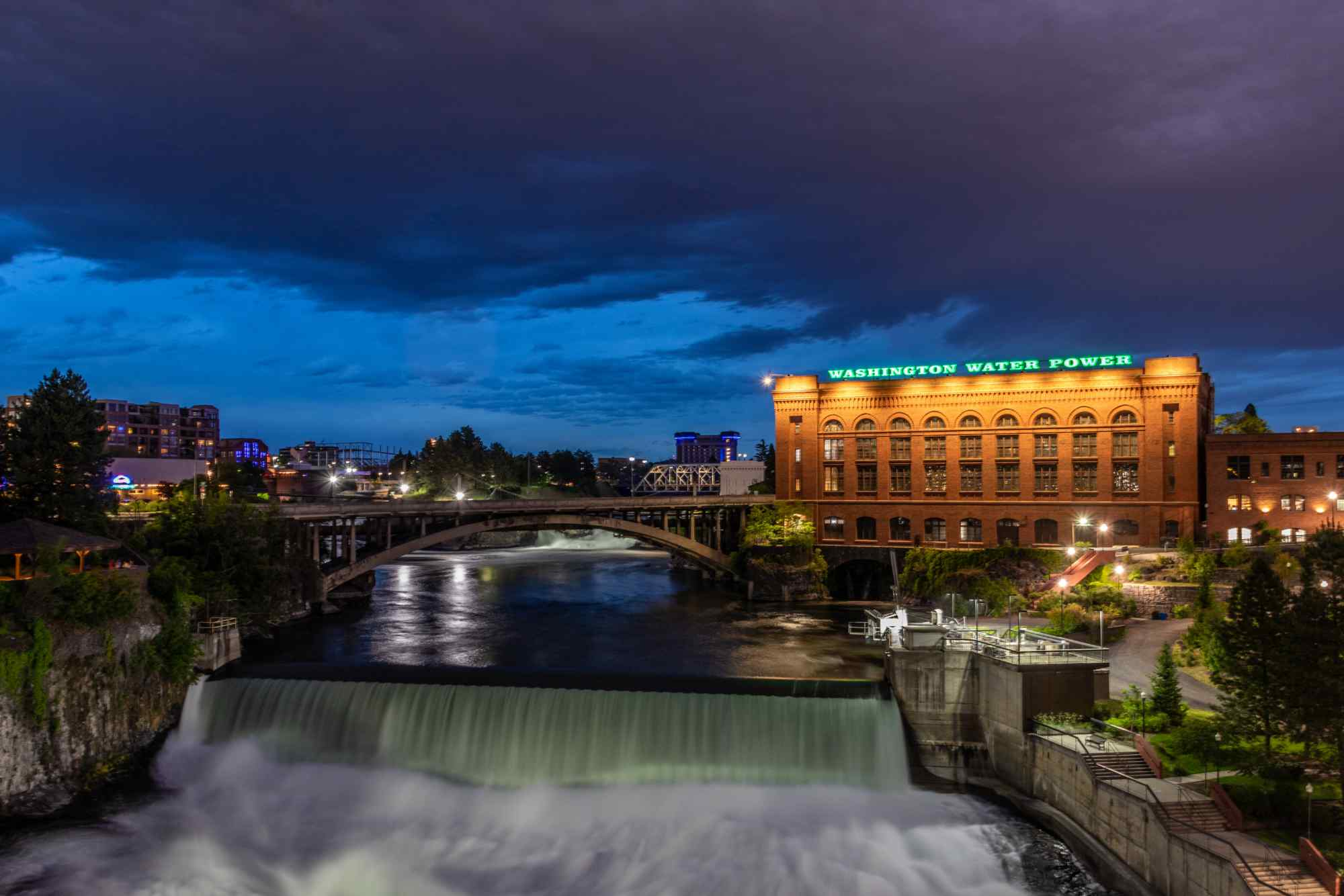 Night view of Washington Water Power building and river